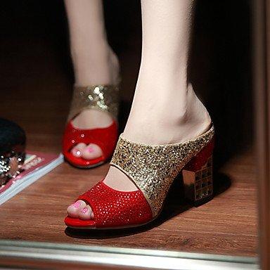 Sandalias Primavera Verano Oto?o Club Zapatos Glitter parte &Amp; traje de noche casual Chunky tal¨®n Sequin Negro Rojo US9.5-10 / EU41 / UK7.5-8 / CN42
