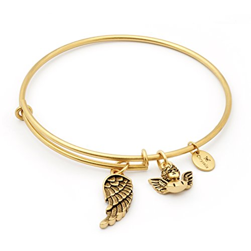 Inspirational Guardian Angel Wing Charm Bangle Bracelet for Women, Gold Plated,Adjustable Expandable