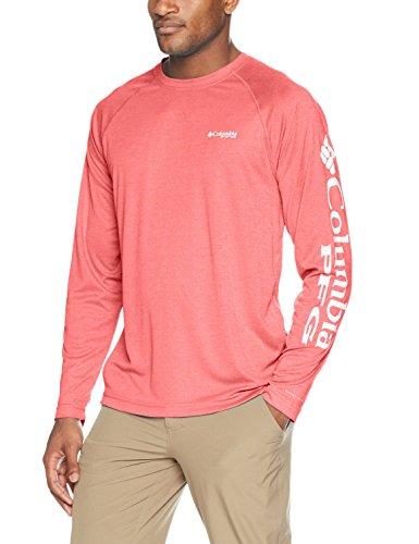 Columbia Men's Standard Terminal Tackle Heather LS Shirt, Sunset Red White Logo, Medium