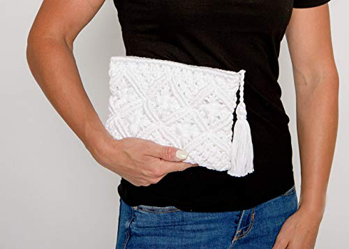 Surhilo Misti Pima Cotton Crochet Clutch Purse - White- Luxury Knit Handmade Handbag for Women & ()