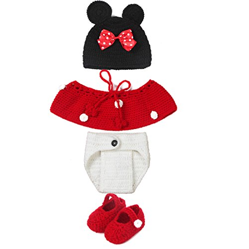 Baby Costumes Cheap (Dealzip Inc® Fashion Unisex Newborn Boy Girl Crochet Knitted Baby Outfits Costume Set Photography Photo Prop-Mickey Mouse)