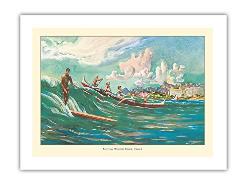 Pacifica Island Art - Surfing Waikiki Beach, Hawaii - United Air Lines - Vintage Airline Travel Poster by Millard Sheets c.1950s - Premium 290gsm Giclée Art Print 18in x ()