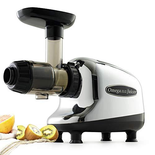Omega Juicers J8005 Nutrition Center Single-Gear Household Masticating Juicer, Silver (Renewed)