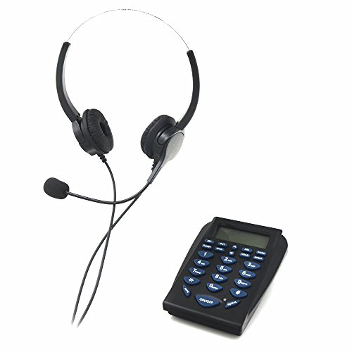 Call Center Phone, Bizoerade Hands-free Call Center Noise Cancellation Binaural Corded Headset Telephone, with Backlight Tone Dial Key Pad & REDIAL + Desk Phone Headphones Headset