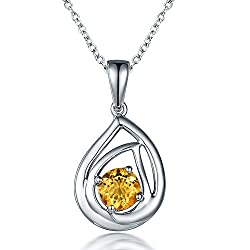 White Gold Natural Citrine Pendant Necklace with Diamond