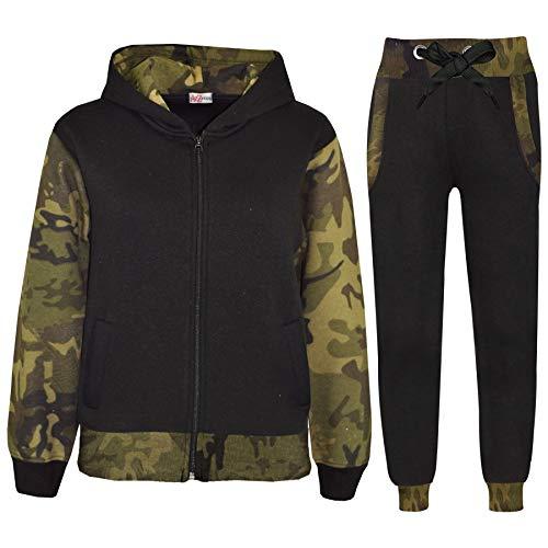 (Kids Tracksuit Girls Boys Fleece Hooded Hoodie Bottom Jogging Suit Jogger 2-13Yr Camo Green)