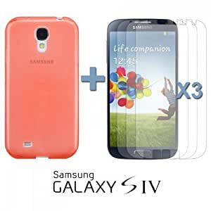 OnlineBestDigital - Colourful Transparent Gel Case for Samsung Galaxy S4 IV I9500 / I9505 - Orange with 3 Screen Protectors