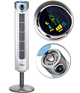 "Ozeri Ultra 42"" Wind Adjustable Oscillating Tower Fan - with Noiseless Airflow Technology"
