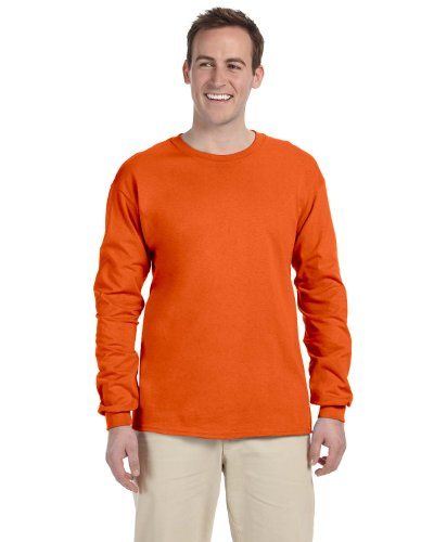 Fruit of the Loom Adult 5 oz. Long-Sleeve T-Shirt, BURNT ORANGE, XL -