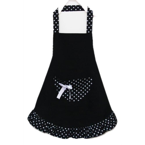 Promotion! Lovely Cotton Polka Dot Pattern Working Chefs Kitchen Cooking Cook Women's Bib Apron with Bowknots Pockets Design N@N