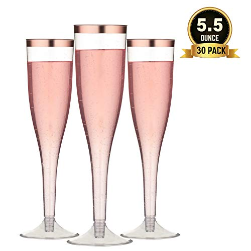 TOROTON 30 Champagne Flutes Disposable, 5.5 oz Plastic Champagne Glasses with Rose Gold Rimmed, Perfect for Wedding Party, Toasting, Mimosa, Cocktails