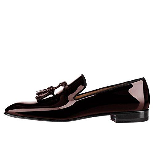 Cuckoo Zapatos de Vestir Charol Negro de Los holgazanes con Borlas Borgoña