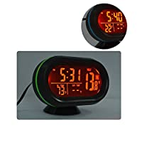 Car Clock, LED Lighted Digital Car Clock Thermometer Auto Dual Temperature Gauge Voltmeter Voltage Tester DC 12-24V, Red