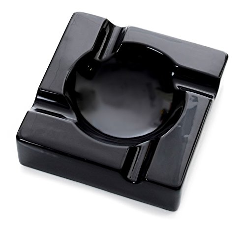 Mantello Cigars Large Black Ceramic Cigar Ashtray for Patio/Outdoor Use by Mantello Cigars