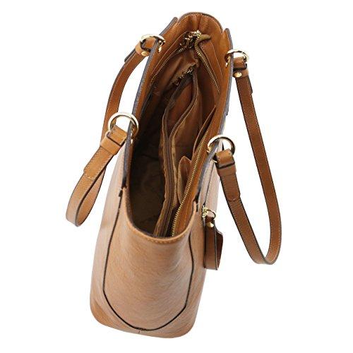 Tuscany Leather TL NeoClassic Bolso shopping en piel con dos asas Marrón topo oscuro Bolsos de asa larga Rojo