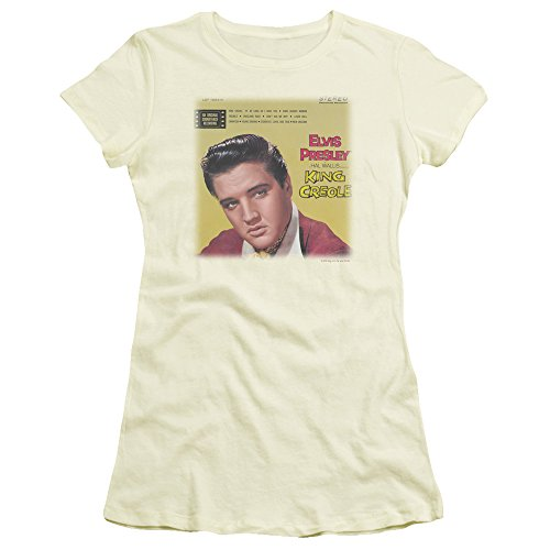 Trevco Elvis Presley King Creole Soundtrack Juniors' Sheer Fitted T Shirt, Small Cream