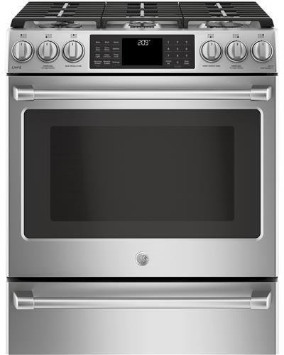 GE Cafe C2S986SELSS 30 Inch Slide-in Dual Fuel Range with Sealed Burner Cooktop, 5.6 cu. ft. Primary Oven Capacity in Stainless Steel (Best 30 Dual Fuel Range)