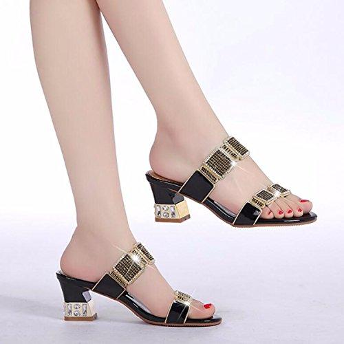 QPSSP Diamantes, Zapatillas, Tacones, Sandalias, Sandalias Y Zapatos De Mujer. black
