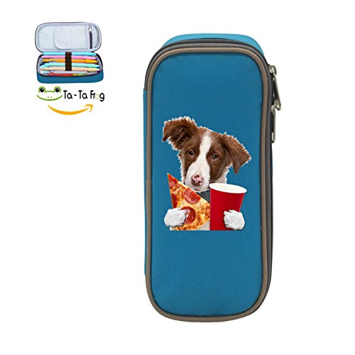 Mybox Puppy Dog Eating Pizza Cube Pen Case Pencil Box Soft Canvas Student Stationery Office ()