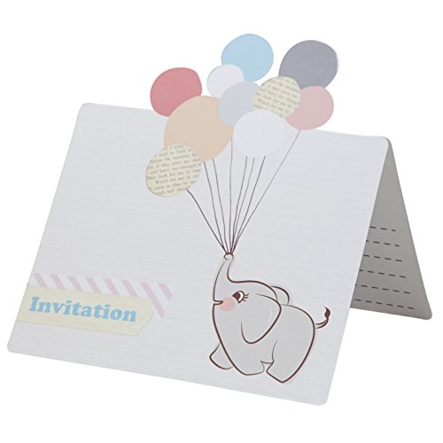 Ginger Ray Little One Vintage Baby Elephant Pastel Party Invitations, Mixed