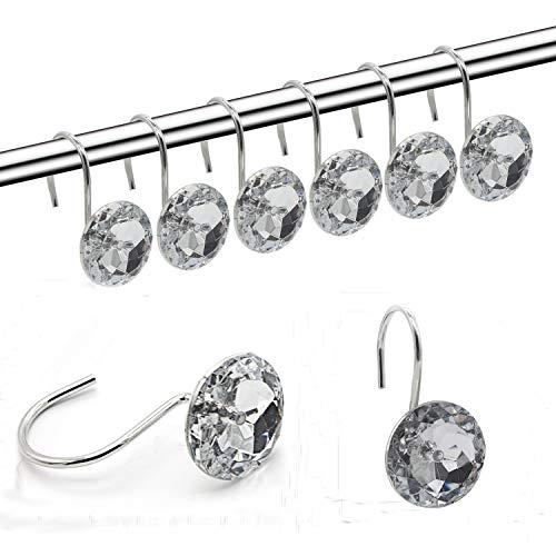 (Shower Curtain Hooks Diamond Shape Shower Rings/Round Acrylic Decorative Rhinestones Bling Rolling Bathroom Bath Set of 12 Rings)