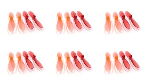 6 x Quantity of Revell QG 550 Mini Quadrocopter Transparent Clear Orange and Red Propeller Blades Props Rotor Set 55mm Factory Units