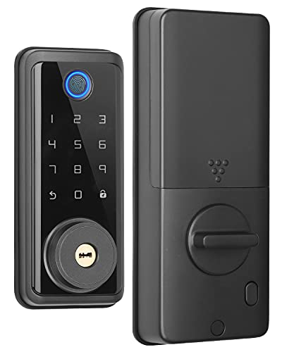 Keyless Entry Deadbolt Lock with Biometric Fingerprint ,Electronic Keypad Door Lock,Front Door Locks,Security Smart Lock with Keypad Auto Lock APP Control for Home