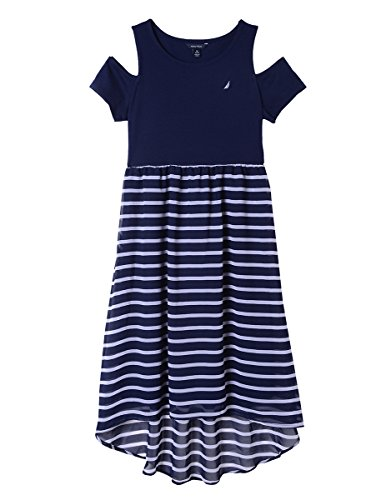 e Short Sleeve Fashion Dress, Chiffon Navy 6X ()
