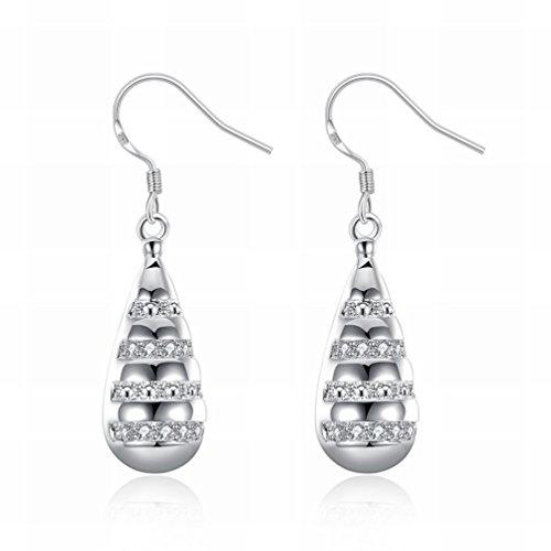 MOMO une Paire de Boucles D'oreilles en Diamant en Forme de Goutte / Boucles D'oreille en Acier Inoxydable / Anti-allergique / Argent / Crochet / Petites Boucles D'oreilles /