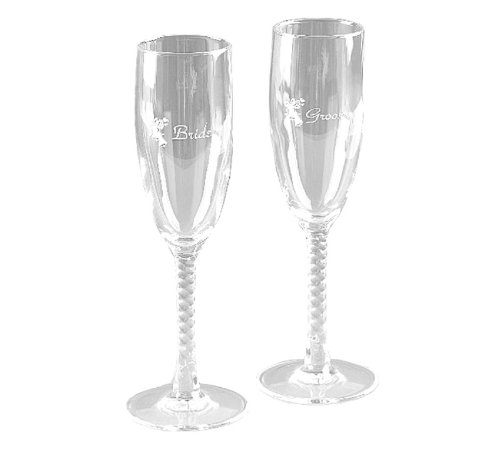Victoria Lynn Bride And Groom Champagne Toasting Wedding Glasses With Twisted Stems Beautiful Wedding Decor -