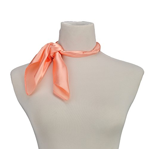 RongShi Silk Square Scarf Women's Fashion Scarves Lightweight Small Solid Color 22 In (Dark apricot)