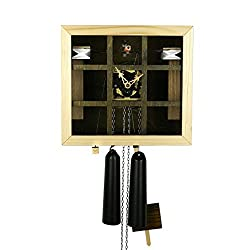 MusicBoxAttic Modern VDS Certified Olive and Wood Tone Glass Panel 8 Day Romba Art Cuckoo Clock by Rombach and Haas Sale Price - Code romba20