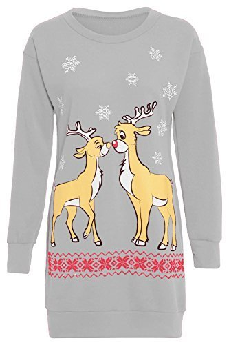 b2135a195c10 Damen Weihnachten Pullover Damen Weihnachten Zwei Rentier-aufdruck Fleece  Gestrickt Langes Kleid Langärmeliger Pullover Überdimensional