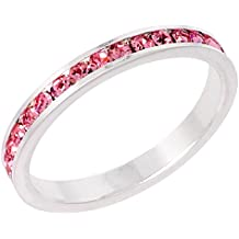 """Sterling Silver Stackable Eternity Band, October Birthstone, Pink Tourmaline Crystals, 1/8"""" (3 mm) wide"""