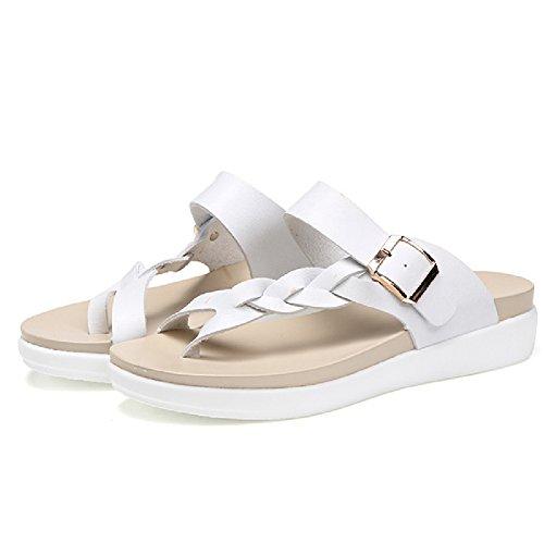 Btrada Casual Da Donna Infradito Sandalo Piatto Sandalo Da Spiaggia Bianco