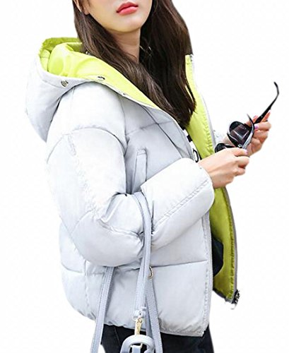 Hooded Reversible today UK Long Lightweight Sleeve Womens Grey Padded Jacket OxqBpqEX