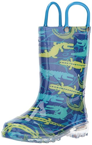 aterproof Rain Boots that Light up with Each Step, Gators Galore, 9 M US Toddler ()