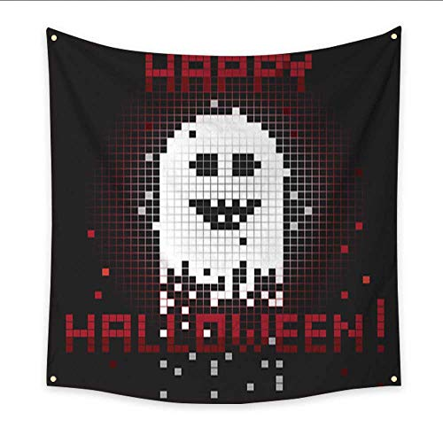 Anniutwo Modern Art Tapestry Pixel Halloween Ghost Blanket Home Room Wall Decor 47W x 47L -