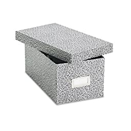 Card File with Lift-Off Lid Holds 1,200 4 x 6 Cards, Black/White Paper Board, Sold as 1 Each