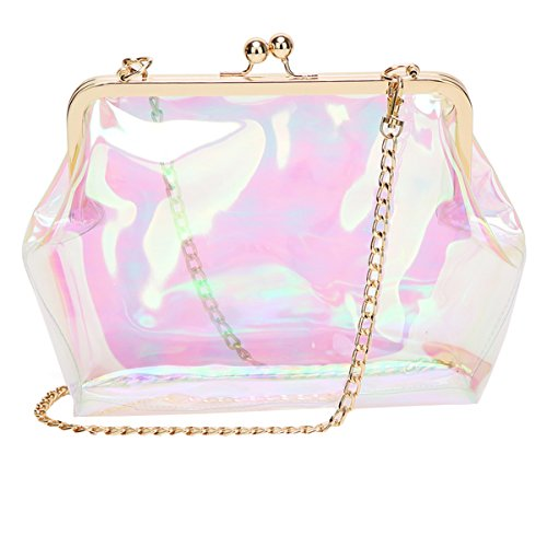 Clutch Laser Fashion Women Bag Girls laser Kiss Chain AiSi Jelly Crossbody Transparent PVC Lock Handbag q1waRxWBf