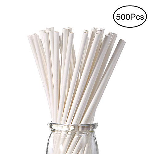 White Paper Straws, 500 Pcs, Plasticless 100% Biodegradable Drinking Straws, Food-Safe 7 3/4 inches Long