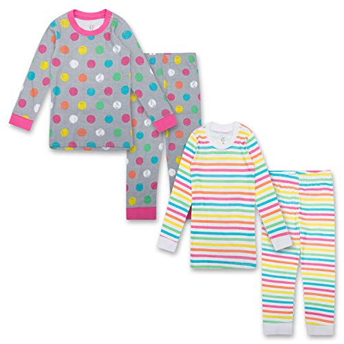 Gentle Organics 100% Organic Cotton Girls Pajamas 4 Piece Pajama Sets - 100% Organic Cotton (Infant/Toddler) ()