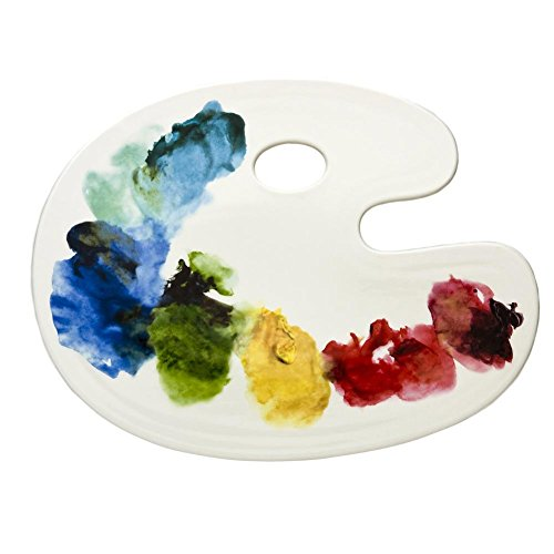Glazed Ceramic Serving Platter (Fishs Eddy Artist Palette Platter, Large)