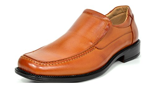 Bruno Marc Men's Goldman-02 Brown Leather Lined Square Toe Dress Loafers Shoes - 9 M US by BRUNO MARC NEW YORK