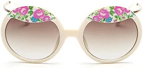 AmorGafas Womens Fashion Circle Round Little Broken Flowers Sunglasses