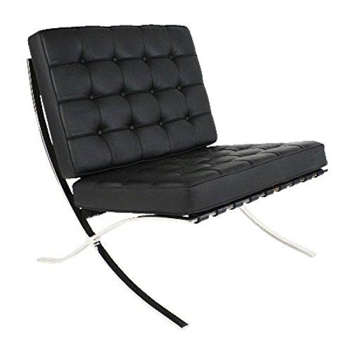 Ariel- Rohe Style Classic Designer Barcelona Chair in Black Top Grain Leather