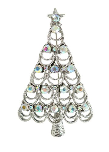 Bejeweled Christmas Aurora Borealis Loop Rhinestone Tree Pin 1339