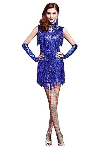 1950 Dance Costume (Honeystore Women's 1950s Sequin Fringe Flapper Dance Party Dress Salsa Costumes Royal Blue L)