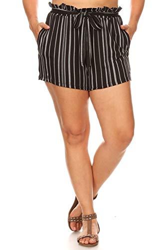 ShoSho Womens Plus Size Shorts Ultra Soft Casual Loose Fit Summer Bottoms Paper Bag Waist Stripe Print Black/White 1X