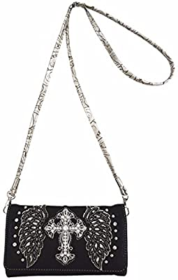 Western Cowgirl Style embroidered angel wings and Rhinestone studded cross Purse Wallet Small Purse